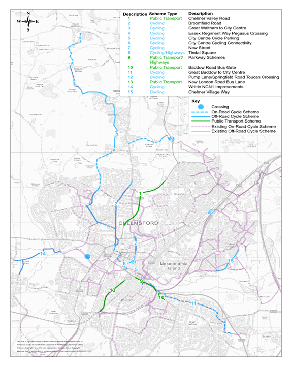 Map showing the locations of the proposed schemes in the Chelmsford City Growth Package