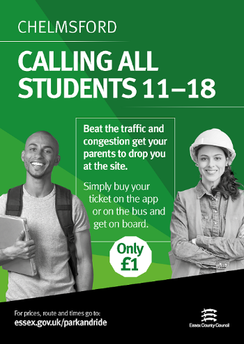 Chelmford - Calling all students 11-18. Beat the traffic and congestion get your parents to drop you at the site. Simply buy your tickets on the app or on the bus and get on board. Only £1