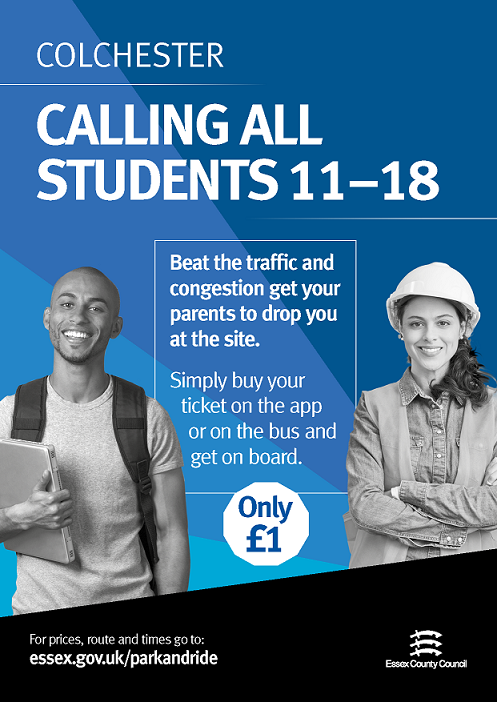 Colchester - Calling all students 11-18. Beat the traffic and congestion get your parents to drop you at the site. Simply buy your tickets on the app or on the bus and get on board. Only £1