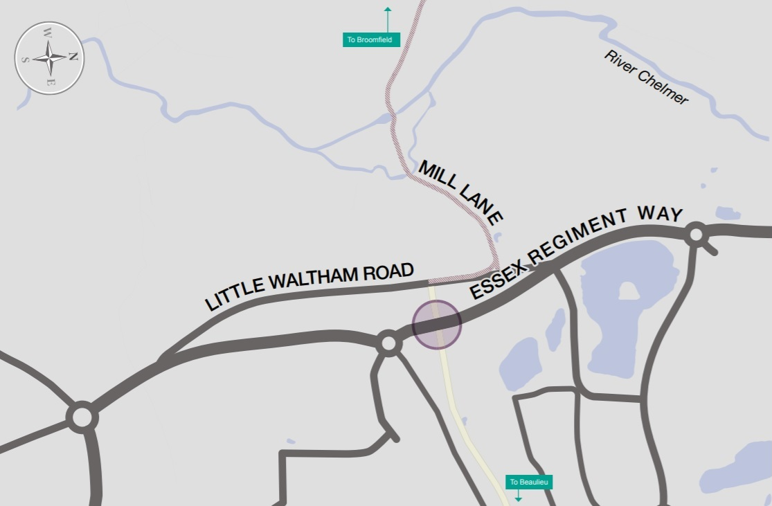 Map showing the location of the crossing point on Essex Regiment Way, Chelmsford. The crossing will be north of Regiment Gate.