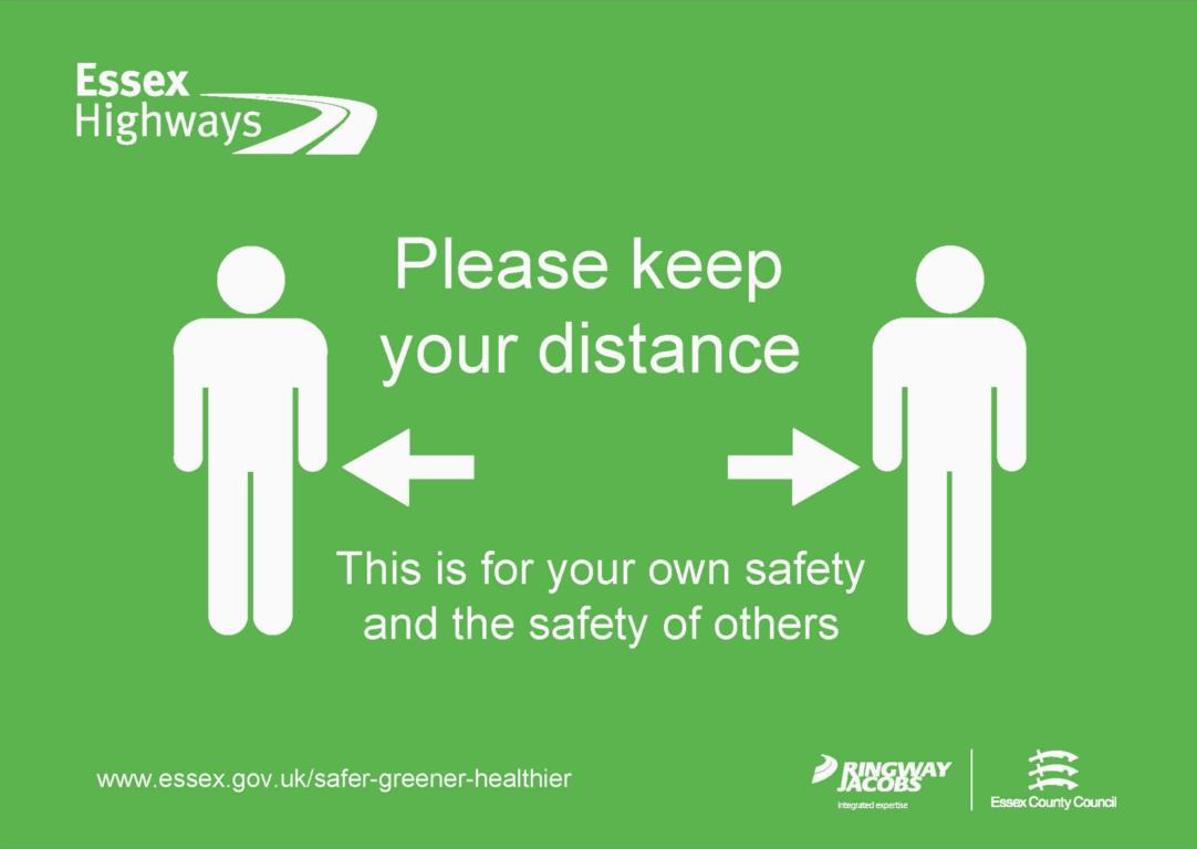Image showing message - Please keep your distance - This is for your own safety and the safety of others