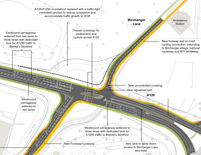 West of M11 Junction 8 / Junction of A120 with A1250 (Dunmow Road) - (Updated 23/01/19)