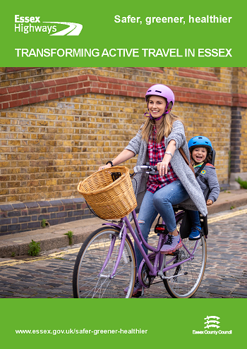 Transformig active travel in Essex - Front cover of the bid summary pdf